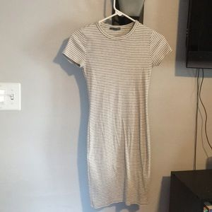 Dresses & Skirts - Grey and White Striped t-shirt Dress